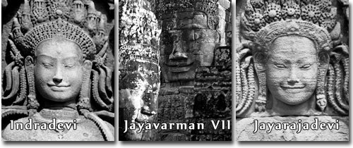 Queen Indradevi, King Jayavarman VII and Queen Jayarajadevi at the Bayon.