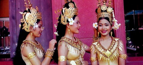 Royal Ballet of Cambodia dancers in full costume.