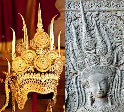 A modern crown created for this special performance of the Royal Ballet of Cambodia and a crowned devata seen on the West Gopura of Angkor Wat.  Photo left - Copyright 2010 Anders Jiras. Right - Kent Davis