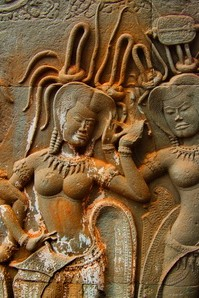 Shakti and Bhakti at Angkor Wat: devata on the south library of the second level.