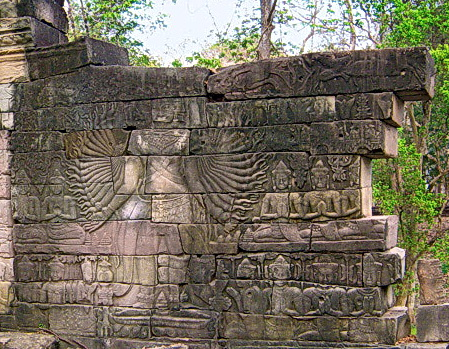 One of eight Lokesvara images originally carved on the walls of Banteay Chhmar temple. Four of these were looted in 1992 (see missing wall on right).