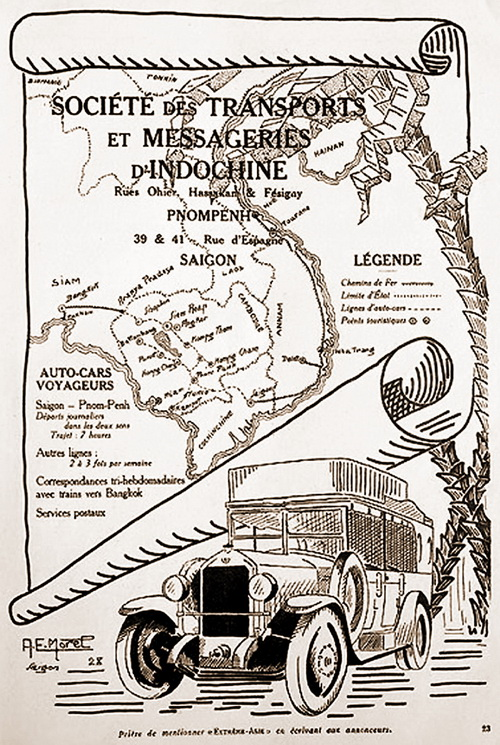 Illustrated advertisement: Sociéte des Transports et Messageries d'Indochine: Phnom Penh-Saigon: Auto-cars voyageurs. 1928. Sisophon, the town closest to Banteay Chhmar, is seen in NW Cambodia.