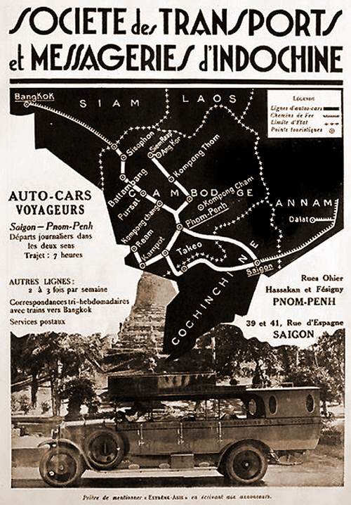 Illustrated advertisement: Sociéte des Transports et Messageries d'Indochine: Phnom Penh-Saigon: Auto-cars voyageurs. 1930. Sisophon, the town closest to Banteay Chhmar, is seen in NW Cambodia.