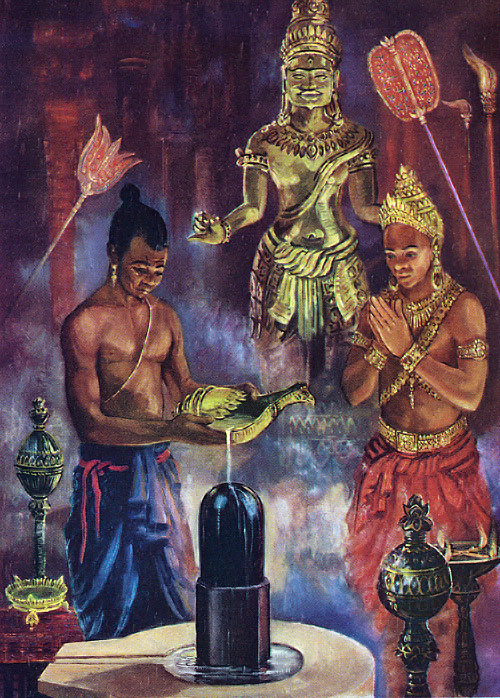 Jayavarman II sanctified as the first devaraja of Kambuja by Maurice Fievet
