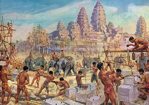 """Elephant Teams Drag Heavy Stones for the Building of Angkor Wat"" by Maurice Fiévet"