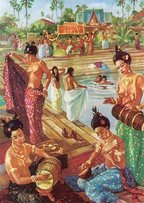 """Strings and drums entertain royal women bathing at Angkor"" by Maurice Fievet"