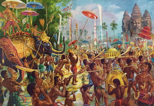 """Conchs, Horns, and Gongs Herald a King Riding Through Angkor Atop His Elephant"" by Maurice Fievet."