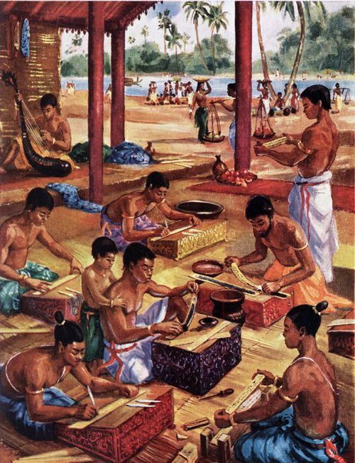 """Khmer scholars preparing scripts on palm leaves"" by Maurice Fievet."