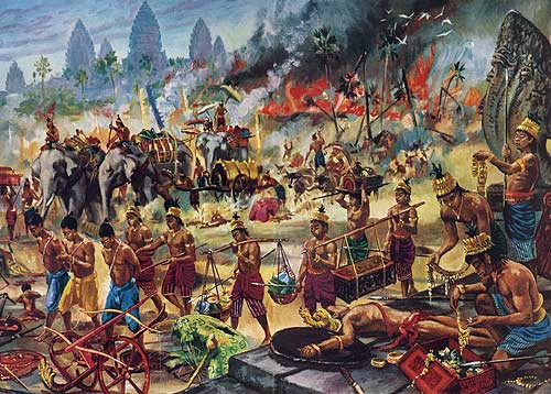 """Death of Angkor: Victorious Thai loot the city and march away prisoners"" by Maurice Fievet."