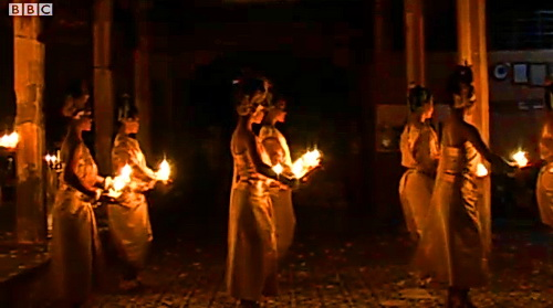 NKFC dancers perform a ritual dance at a local Buddhist temple in Siem Reap.
