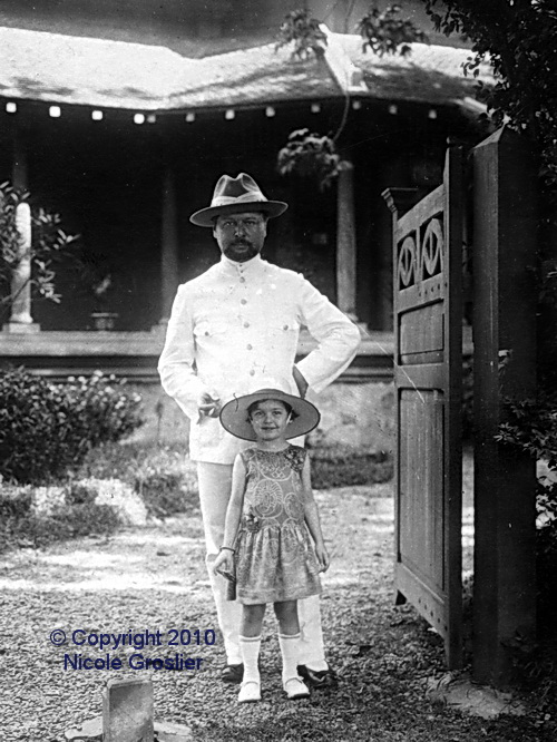 George Groslier and his daughter Nicole at the gate of their Phnom Penh home - 1923.