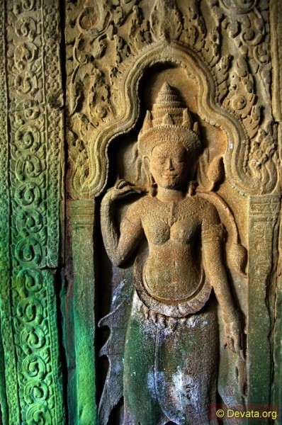 The Khmer temple of Preah Khan has hundreds of devata hidden in its dark inner chambers.