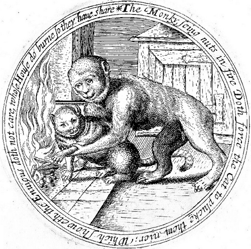 This 17th century English engraving of The Monkey and the Cat tells a tale of trickery almost identical to the antics of Brother Rabbit in Tales of the Hare