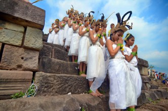 The Sacred Dancers of Angkor perform their first international dance ritual for thousands of worshipper gathered at Wat Phou temple in Laos. February 2012.