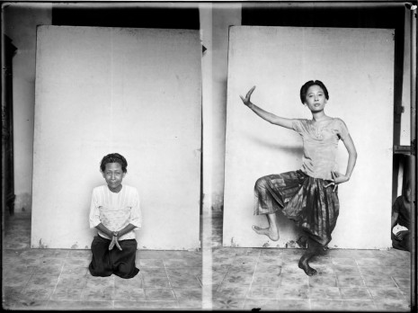 Nou Nam, left, had been the favorite dancer of both King Norodom and King Sisowath. In her 50s in 1927, she agreed to help Georges Groslier archive Khmer classical dance movements in photographic form. Ith, right, would only pose for the camera when her rival in the Royal Ballet was absent, Georges Groslier wrote in 1928. (National Museum Collection)