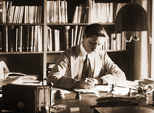 George Groslier in his home study in Phnom Penh on December 3, 1922.