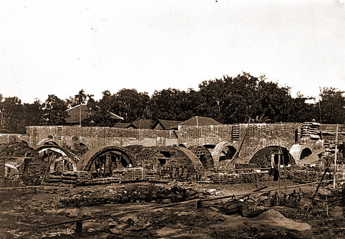 The Albert Sarraut Museum-now the National Museum of Cambodia-under construction in 1918.