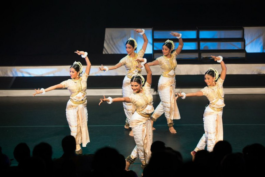 "Apsaras Arts performers Anuja Varaprasad, Sruti Petagaraju, Seema Harikumar, Devapriya Appan and Aarane Thiru in their divine roles in ""Angkor the Untold Story."""