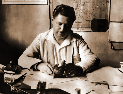 George Groslier in his office at the National Museum of Cambodia, 1928. (photo by Martin Hurlimann)