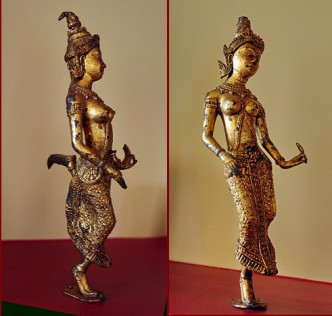 French casting of a Khmer dancer based on works by the School of Cambodian Arts (possibly from the studio of Alfred Finot, 1876-1947).
