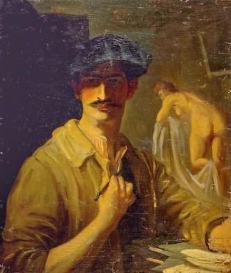 French artist Jean Despujols - seen here in a self-portrait - won the Grand Prix de Rome in 1914.